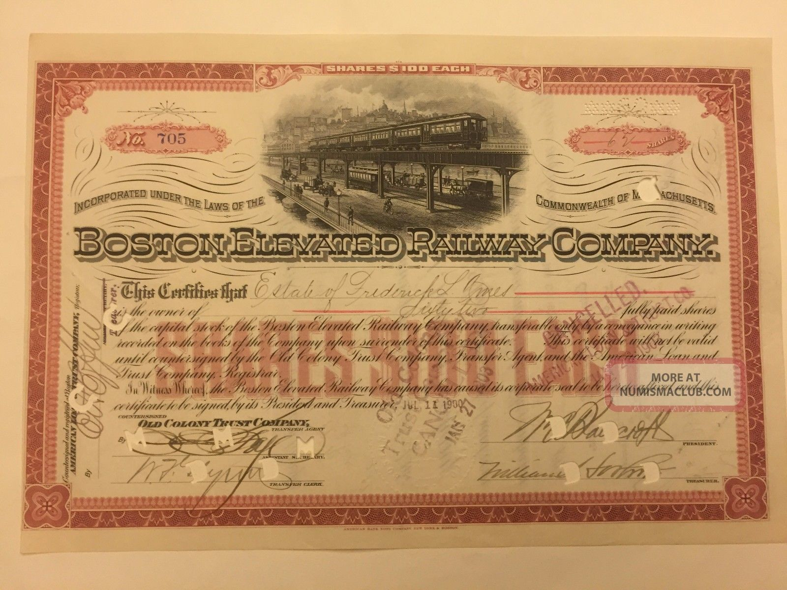 1900 Boston Elevated Railway Company Stock Certificate Signed By Oliver Ames Transportation photo