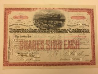 1900 Boston Elevated Railway Company Stock Certificate Signed By Oliver Ames photo