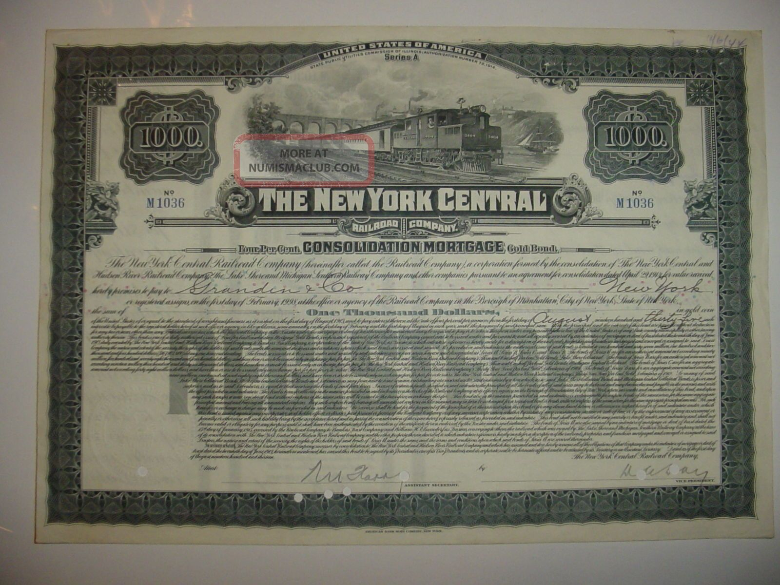 $1,  000 York Central Railroad Company Bond Stock Certificate Ny A Transportation photo