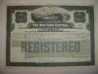 $1,  000 York Central Railroad Company Bond Stock Certificate Ny A photo