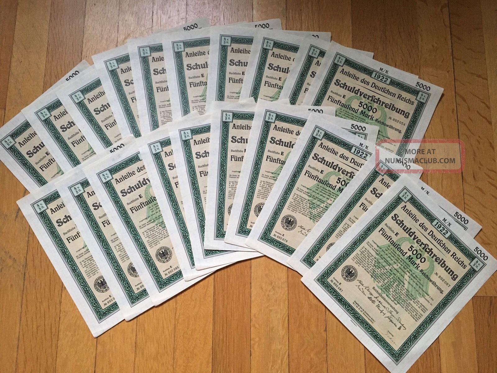 Germany: 5,  000 Mark Treasury Bond Certificate - 1922 Wwll Deutsches Reich Stocks & Bonds, Scripophily photo