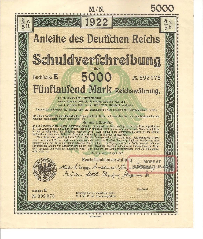 certificate treasury bond germany 1922 reich deutsches wwll mark reichsmark government enlarge
