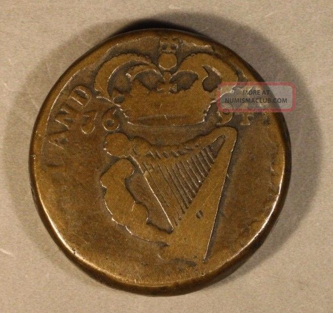 1694 Ireland Coin Weight Brass Xvii Pence U.  S. Europe photo