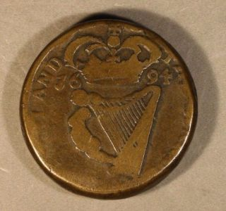 1694 Ireland Coin Weight Brass Xvii Pence U.  S. photo