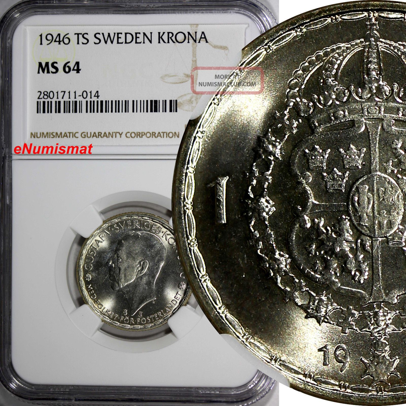 Sweden Gustaf V Silver 1946 Ts 1 Krona Ngc Ms64 Top Graded Gem Coin Km 814 Europe photo