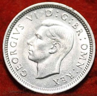 Uncirculated 1942 Great Britain 3 Pence Silver Foreign Coin S/h photo