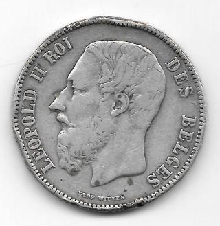 1872 Belgium Leopold Ii Roi 5 Fronc Silver Coin. photo