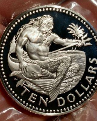Barbados 1973 Proof Ten Dollars Large Silver Coin.  Rare Collector Coin.  Dmf. photo