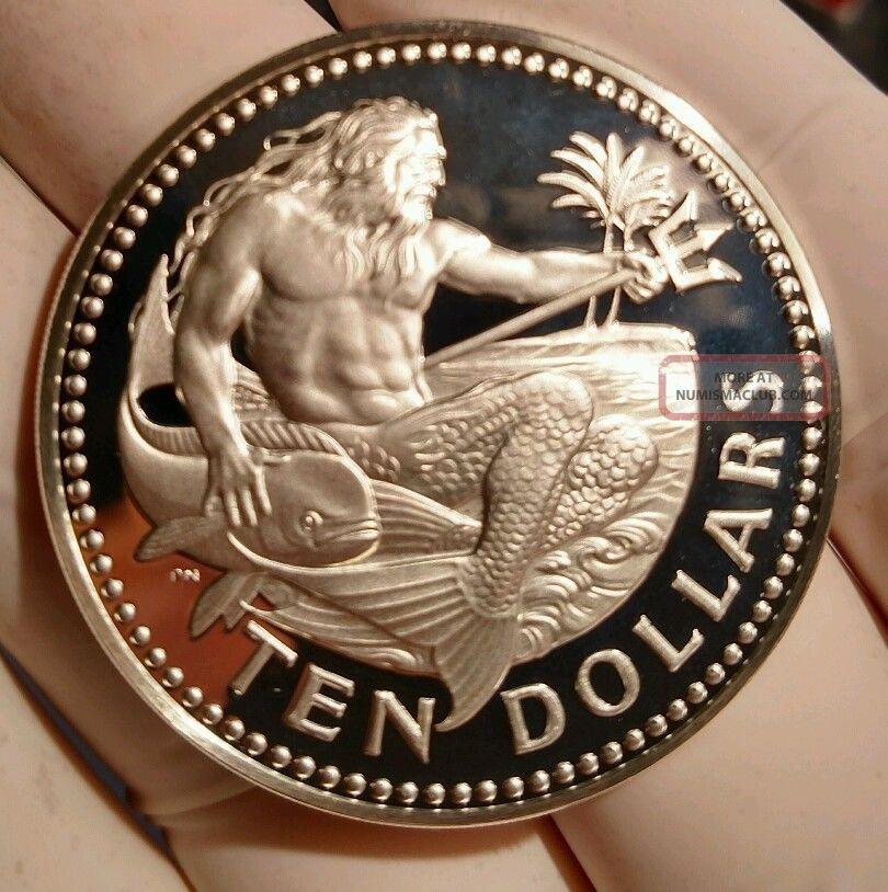 Barbados 1973 Proof Ten Dollars Large Silver Coin Rare
