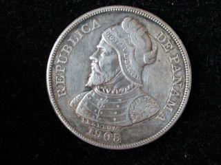 1905 Panama Balboa 50 Centesimos Silver Higher Grade Coin photo
