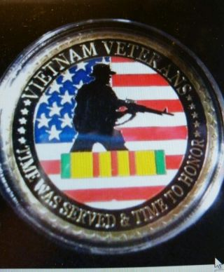 Vietnam Veterans (size Of A U.  S.  Silver Dollar).  Gold Plated Brass Commemorative photo