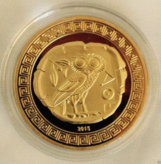 Greek - Athena,  Owl - Gold Plated Collectable.  C Of A photo