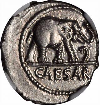 Julius Caesar 49bc Elephant Serpent Ancient Silver Roman Coin Ngc Ch Au I57205 photo