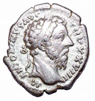 Authentic Marcus Aurelius - Roman,  Ar Silver Denarius - Rv.  Winged Victory - A479 photo