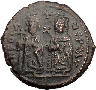 Phocas & Leontia 603ad Rare Quality Medieval Byzantine Coin I36443 photo
