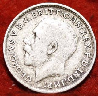 1915 Great Britain 3 Pence Silver Foreign Coin S/h photo