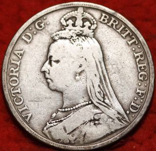1892 Great Britain Crown Silver Foreign Coin S/h photo