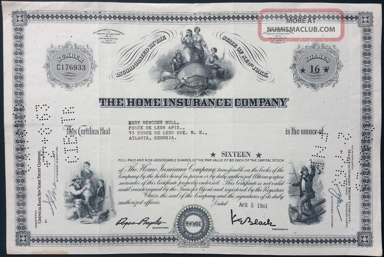 The Home Insurance Company Capital Stock Certificate 1961 American Bank Note Co. Stocks & Bonds, Scripophily photo