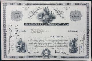 The Home Insurance Company Capital Stock Certificate 1961 American Bank Note Co. photo