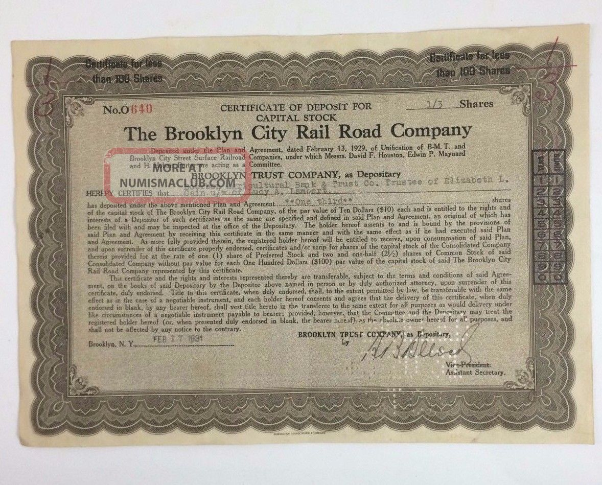 1931 The Brooklyn City Rail Road Company 1\3 Share Capital Stock Certificate Transportation photo