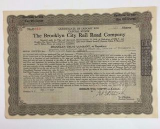 1931 The Brooklyn City Rail Road Company 1\3 Share Capital Stock Certificate photo