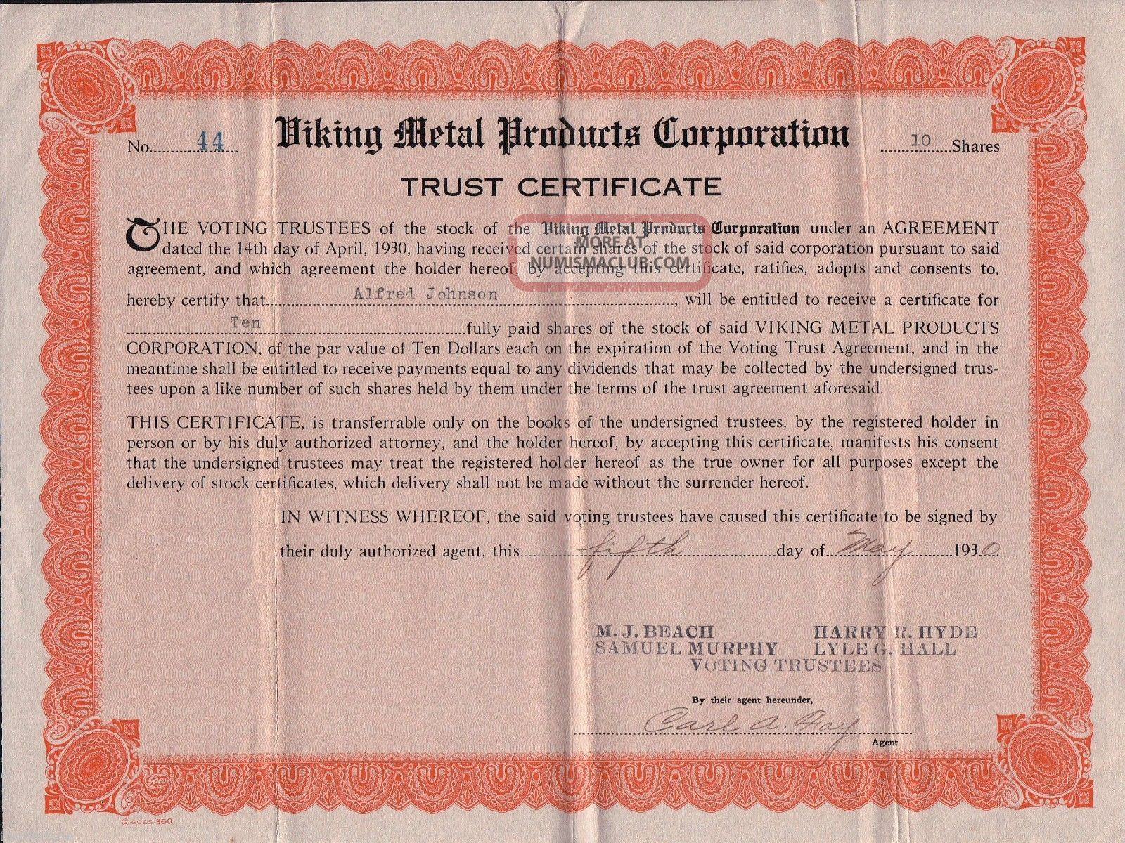 Depression May 1930 Viking Metal Products Capital Stock Certificate Trust Share Stocks & Bonds, Scripophily photo