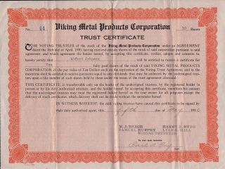 Depression May 1930 Viking Metal Products Capital Stock Certificate Trust Share photo