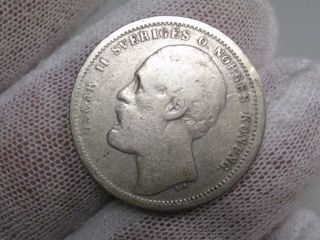 1875 St Silver 1 Krone.  Sweden.  Oscar Ii. photo