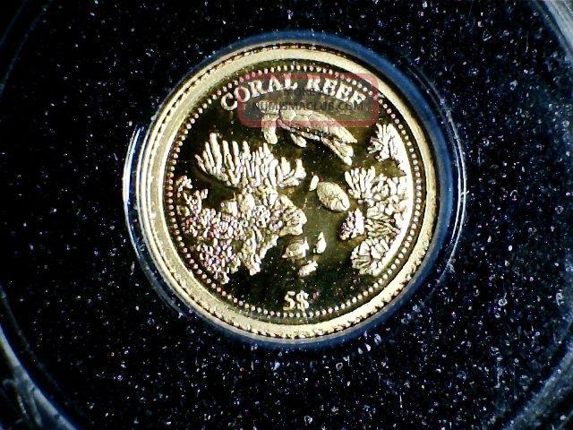 2009 Nauru Five Dollar Proof Gold Coin Coral Reef 999 Gold