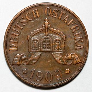 1909 J Wilhelm Ii German East Africa Hamburg 5 Five Heller Coin photo
