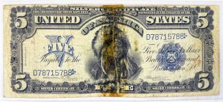 1899 $5 Silver Certificate Indian Chief Onepapa 5 Dollar Bill Blue Seal photo