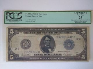5$ Dollars 1914 Series Very Rare Signature Combination Vf photo