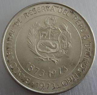 Peru 100 Soles De Oro 1973 Silver Unc photo