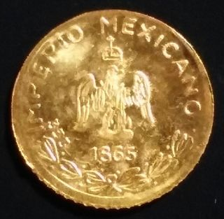1865 Solid Gold Mexican Peso Token.  Marked 333.  Lovely 8k Gold Coin/medal/bar. photo