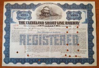 $5,  000 Vanderbilt Signed Cleveland Short Line Railway Bond Stock Certificate photo