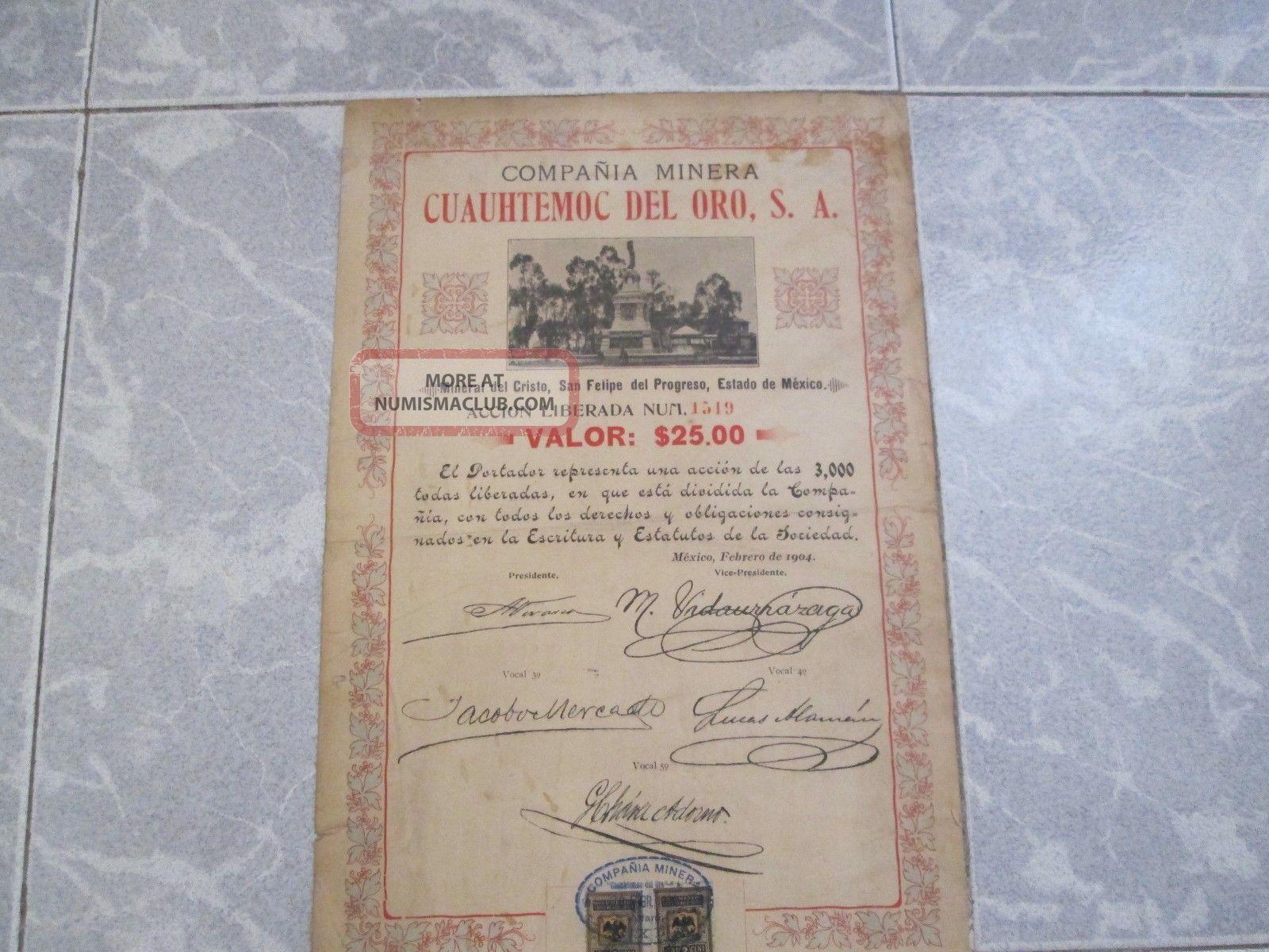 Cia Minera Cuauhtemoc Del Oro,  $25 Share,  Mexico 1904,  Statue Of Cuitlahuac Stocks & Bonds, Scripophily photo