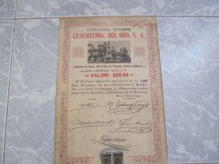 Cia Minera Cuauhtemoc Del Oro,  $25 Share,  Mexico 1904,  Statue Of Cuitlahuac photo