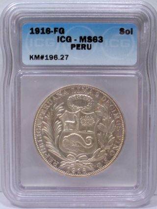 1916 - Fg Peru Silver 1 Un Sol Soles - Icg Certified Ms63 Km 196.  27 photo