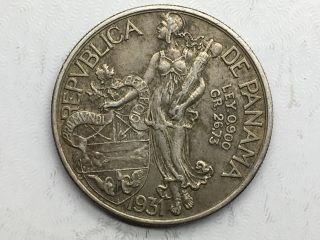 1931 Panama One Balboa Silver Circulated photo