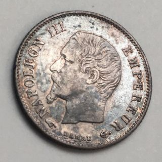 1857 - A France 20 Centimes Vf,  Silver Coin - Napoleon Iii Fp121 photo