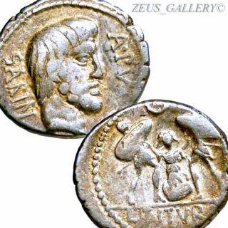 Sabine King Tatius,  Traitor Tarpeia Ancient Roman Silver Denarius Coin Tituria 5 photo