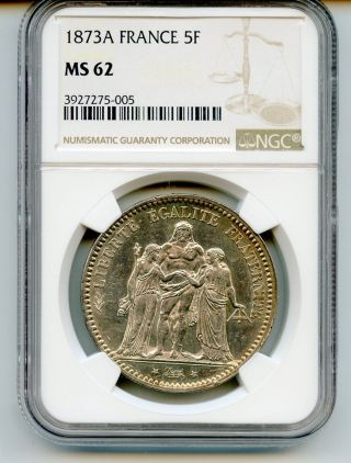 France 1873a 5 Francs Km 820.  1 Ngc Ms 62 - Pk5 photo