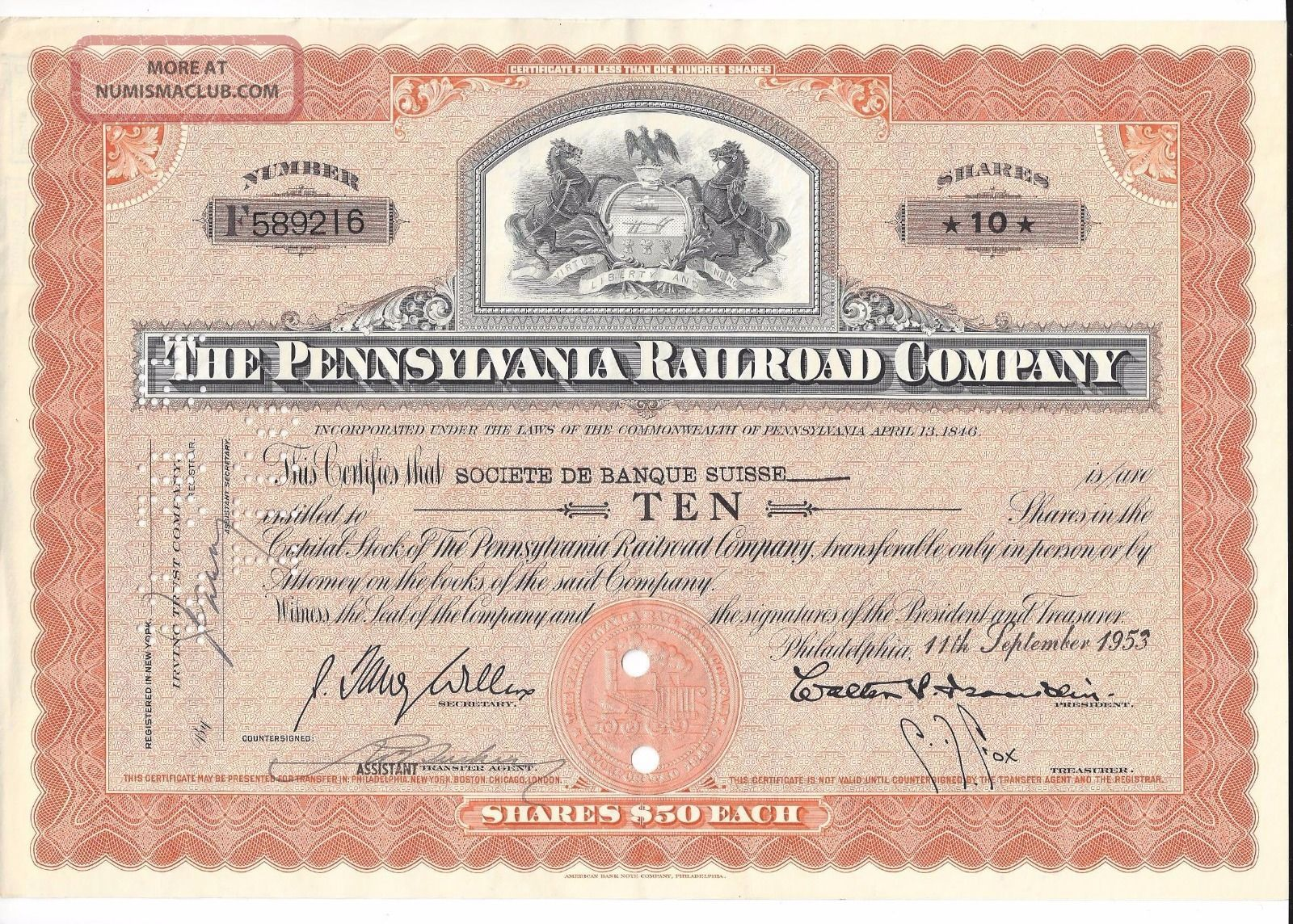 Pennsylvania Railroad Company Stock Certificate 10 Shares Sept 11,  1953 Transportation photo