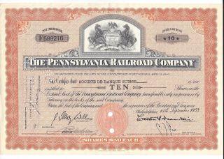 Pennsylvania Railroad Company Stock Certificate 10 Shares Sept 11,  1953 photo