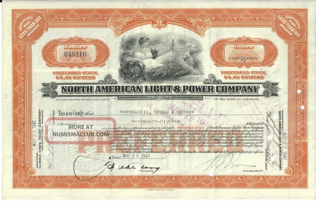 North American Light & Power Less Than 100 Shares Preferred Stock Orange 1940 ' S Stocks & Bonds, Scripophily photo