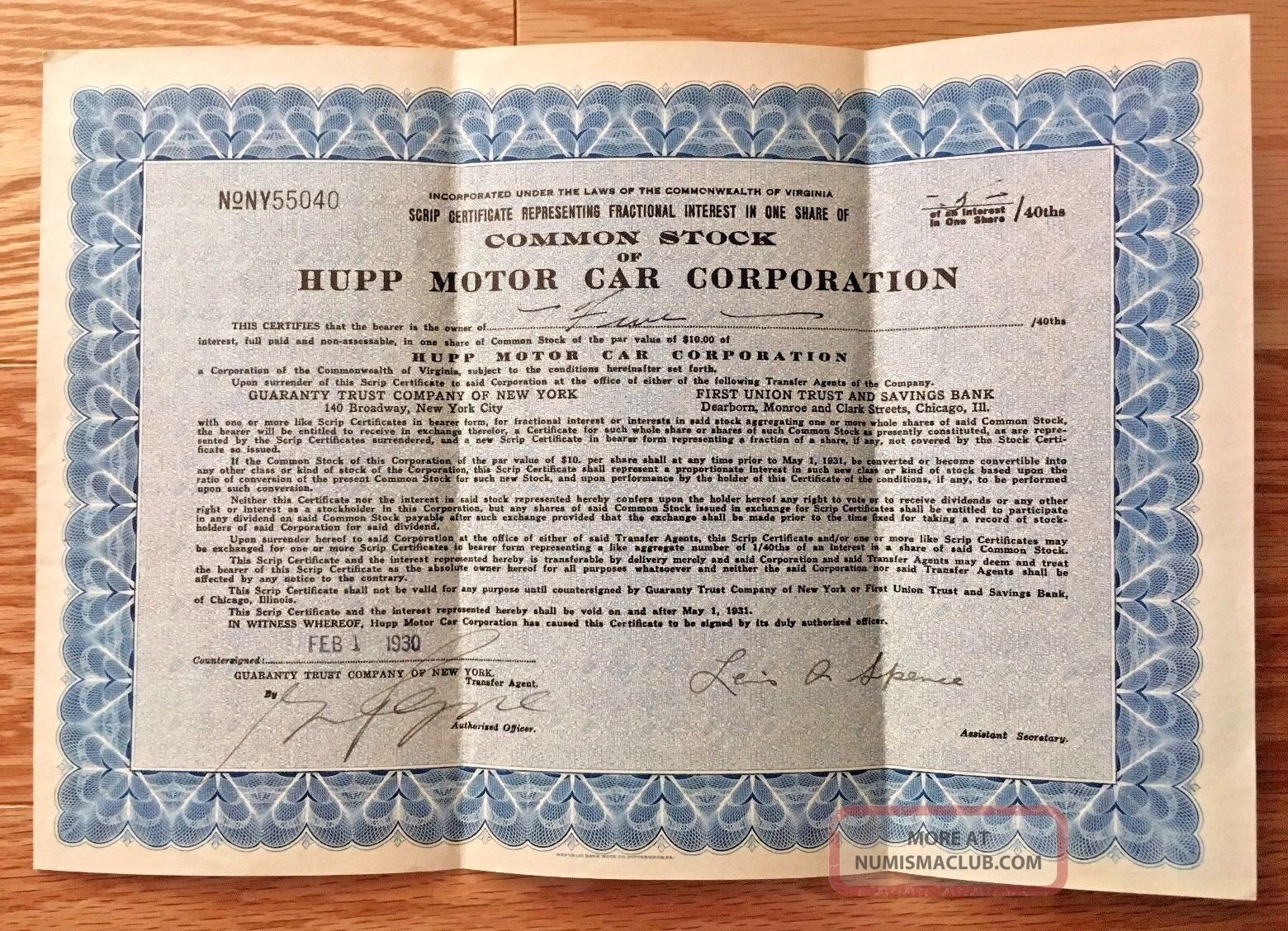 Depression Era 1930 Hupp Motor Car Corporation Common Stock Scrip Certificate Transportation photo