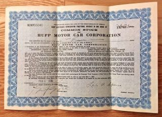 Depression Era 1930 Hupp Motor Car Corporation Common Stock Scrip Certificate photo