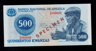 Angola Specimen 500 Kwanzas 1979 Z/a Pick 116s Unc Banknote. photo