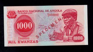 Angola Specimen 1000 Kwanzas 1979 N/a Pick 117s Unc Banknote. photo