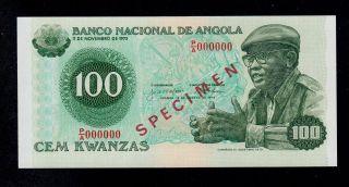 Angola Specimen 100 Kwanzas 1979 P/a Pick 115s Unc Banknote. photo
